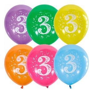 Воздушные шары  Цифра Три 10 шт, пастель + декоратор Latex Occidental. Цвет: разноцветный