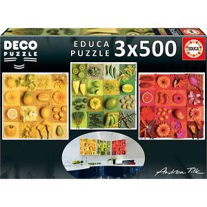 Пазл 3 в 1  Три цвета, 500 элементов Educa