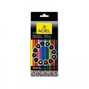 Карандаши цветные Blackline-PB TRIO трехгранные, 12 цветов. ADEL