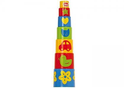 Развивающая игрушка  Ведерко-пирамидка Формочки (7 предметов) Gowi