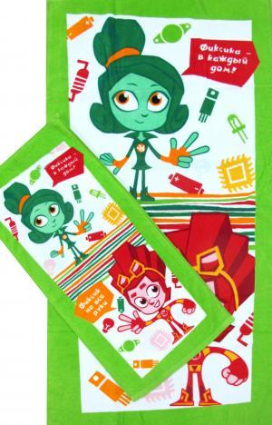 Полотенце  Верта и Файер 60 х 120 см, цвет: зеленый Фиксики