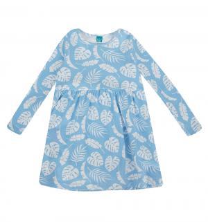 Платье  Листья, цвет: белый/голубой The hip!