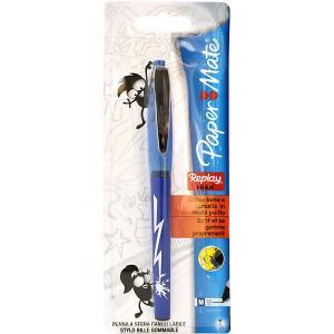 Шариковая ручка Paper Mate Replay Max - Eraser со стираемыми чернилами и ластиком,синяя. Цвет: белый