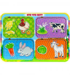 Пазл  Кто что ест? курица-корова-заяц-коза Woodland