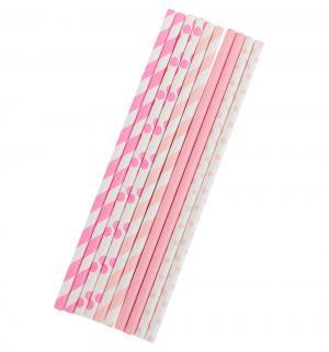 Соломки для напитков  бумажные розовые 10 шт Патибум