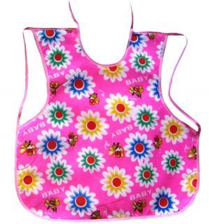 Слюнявчик  На лямках, цвет: розовый Бусинка
