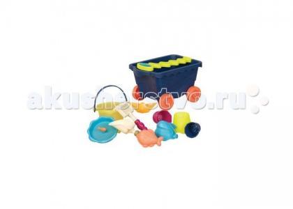 B.Summer Тележка с игровым набором для песка синий Battat