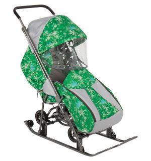 Санки-коляска  Снежинка Универсал, цвет: елки на зеленом Galaxy