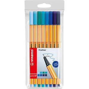 Набор капиллярных ручек Stabilo Point оттенки синего, 8 цветов. Цвет: blau-kombi