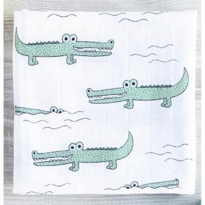 Пеленка  Муслиновая Крокодилы 80x80 см Mjolk