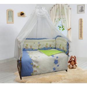 Бортик в кроватку  уютных облачках голубой Soni Kids