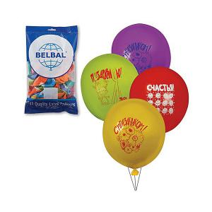 Воздушные шары 12 Веселая затея Поздравления 50 шт, 30 см (8 рисунков, цветов)