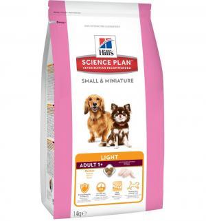 Сухой корм Hills Science Plan для взрослых собак миниатюрных размеров со склонностью к ожирению, курица/индейка, 1.4кг Hill's