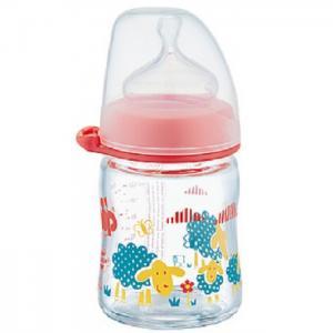 Бутылочка  Girl Антиколиковая стеклянная с силиконовой соской 0 мес. 120 мл NIP