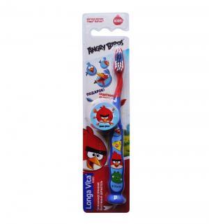 Зубная щетка  Angry birds с защитным колпачком, цвет: синий Лонга-Вита