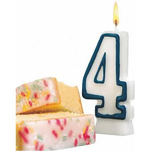 Свеча-цифра для торта  4 8,5 см, синяя Susy Card