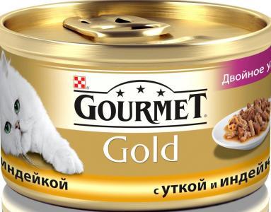 Корм влажный  Gold для взрослых кошек, утка/индейка, 85г Gourmet