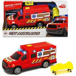 Машинка скорой помощи , 18 см, свет и звук Dickie Toys. Цвет: красный