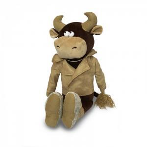 Мягкая игрушка  Бык Вова в кожаной куртке 28 см Maxitoys
