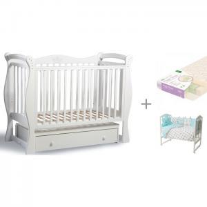 Детская кроватка  Лучик с матрасом Плитекс Magic Sleep и комплектом Золотой Гусь Суфле Baby Luce