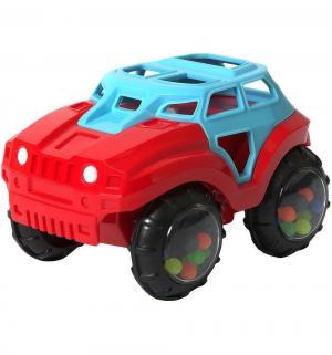Погремушка  Машинка-неразбивайка, цвет: синий/красный, 13 см Яигрушка