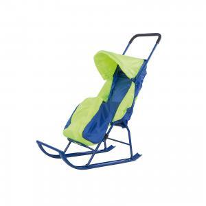 Санки-коляска  1, Galaxy, салатовый/голубой Малышок