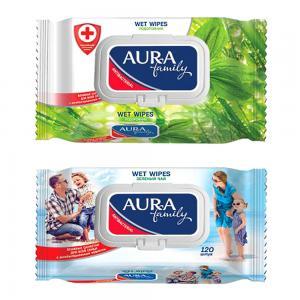 Салфетки  «Family» влажные с антибактериальным эффектом крышкой, 120 шт Aura