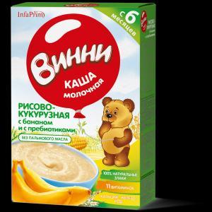 Каша  молочная рисово-кукурузная с бананом пребиотиками 6 месяцев 200 г Винни