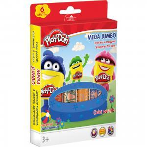 Цветные карандаши Darpeje Play-Doh Mega Jumbo, 6 цветов Академия групп