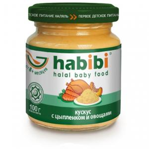 Пюре  кускус с цыпленком и овощами 6 месяцев, 100 г Habibi