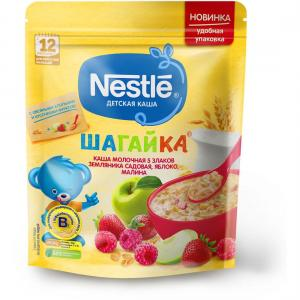 Каша  молочная 5 злаков яблоко-земляника-малина Шагайка с 12 месяцев 200 г Nestle