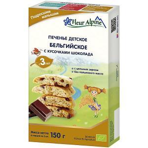 Детское печенье  бельгийское с кусочками шоколада, 3 лет Fleur Alpine