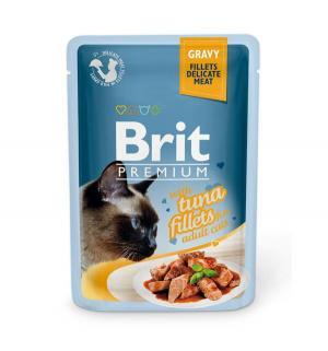 Влажный корм  Premium для взрослых кошек, тунец, 85г Brit