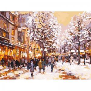Живопись на подрамнике  Зимний вечер бульваре Белоснежка