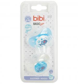 Набор пустышек  Dental Коллекция №5 BasicCare силикон, 6-16 мес, цвет: голубой/белый Bibi