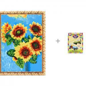 Картина из пайеток Подсолнухи и комплект для раскрашивания Гоночные машины Лавка чудес Color Kit