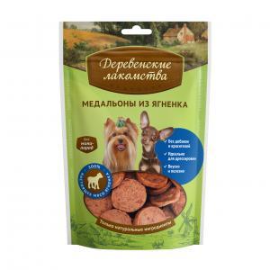Лакомство  Медальоны для взрослых собак мини-пород, ягненок, 55г Деревенские лакомства