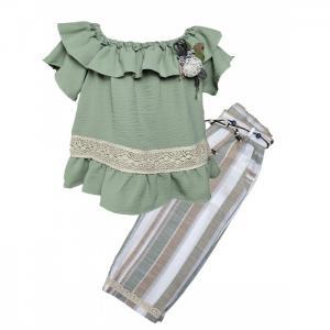 Комплект для девочки туника, капри, пояс 3401 Baby Rose