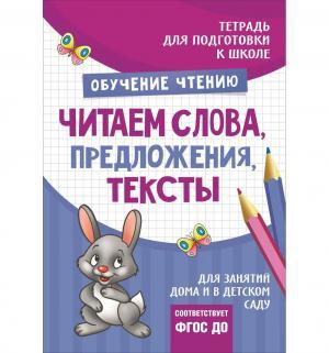Книга  Читаем слова предложения тексты, Подготовка к школе 5+ Росмэн