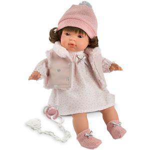 Кукла  Лола в бело-розовом 38 см, со звуком Llorens. Цвет: розовый