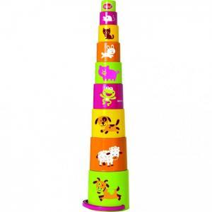 Развивающая игрушка  Ведерко-пирамидка звери 9 предметов Gowi