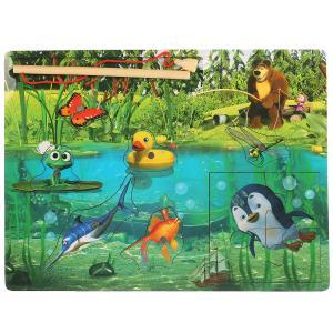 , Игрушка деревянная Маша и Медведь рыбалка на блистере Буратино