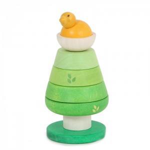 Деревянная игрушка  Пирамидка Зеленое дерево с птенцом LeToyVan