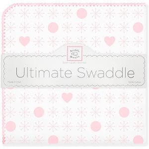 Фланелевая пеленка  Hearts Pink, 110х110 см SwaddleDesigns. Цвет: розовый/белый