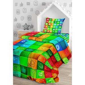 Комплект постельного белья  Социальные сети, 1,5-спальное Juno. Цвет: разноцветный