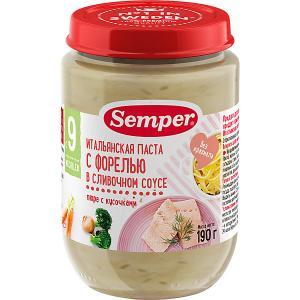 Пюре  итальянская паста с форелью в сливочном соусе 9 мес, 12 шт х 190 г Semper