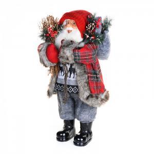 Дед Мороз в клетчатой шубе с хворостом 61 см Maxitoys