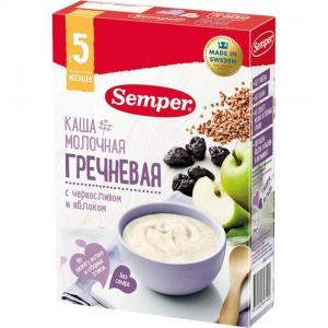 Каша  молочная гречневая с яблоком и черносливом 5 месяцев 200 г Semper