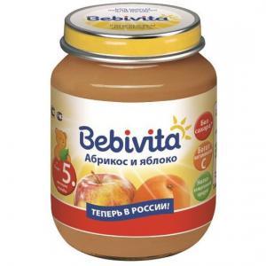 Пюре  абрикос-яблоко с 5 месяцев, 100 г Bebivita