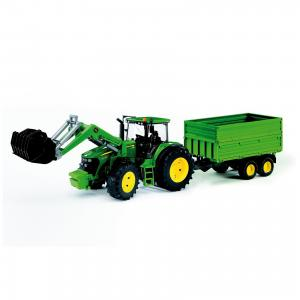 Трактор John Deere с погрузчиком и прицепом, Bruder